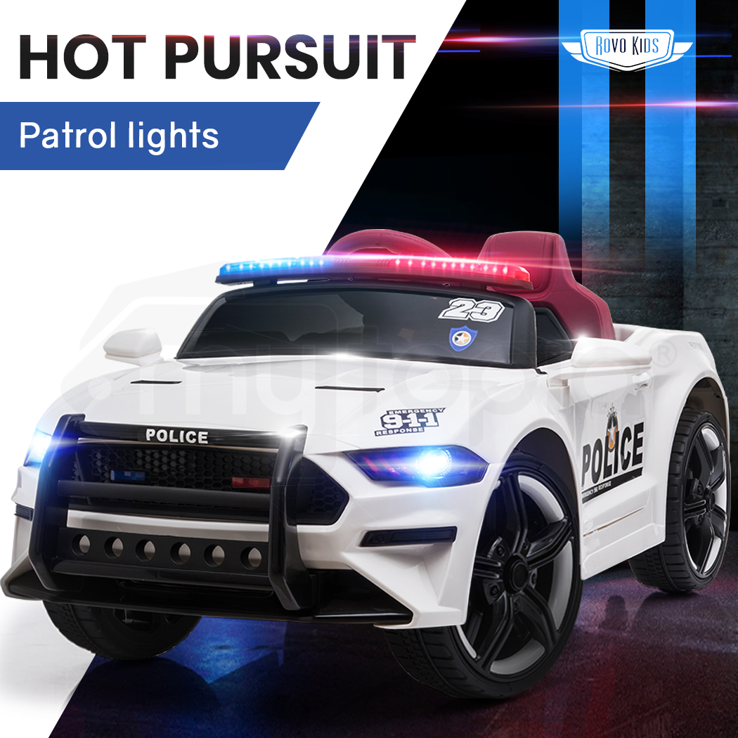 ROVO KIDS Electric Kids Ride On Police Car Battery Powered 12V - White
