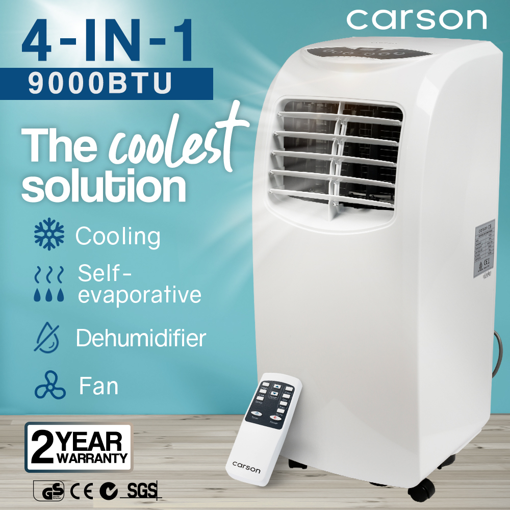 CARSON Portable Air Conditioner Mobile Fan Cooler Cooling Dehumidifier 9000BTU