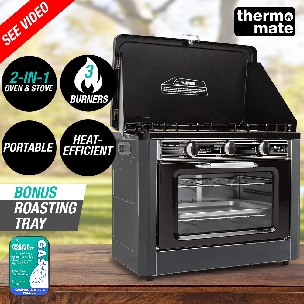 THERMOMATE 3 Burner Gas Portable Camping Oven Stove Combo, Grey