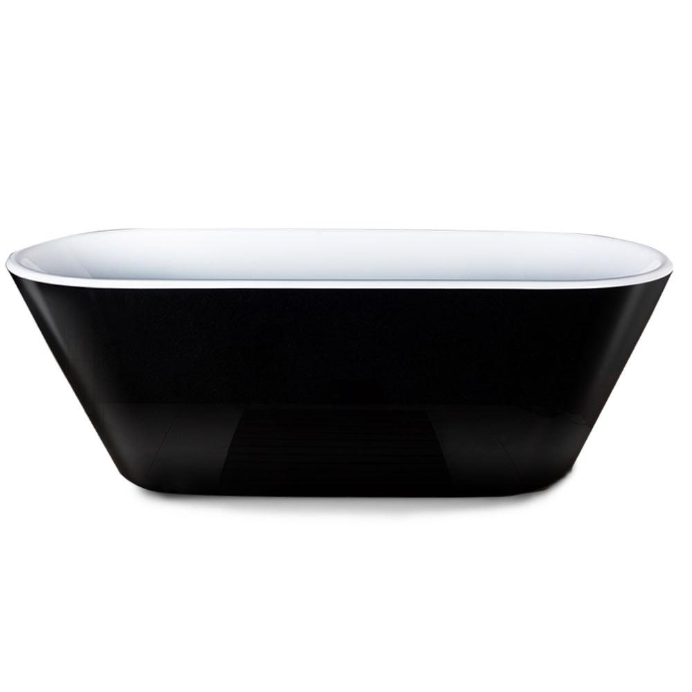 MARBELLA 1700x690x590mm Bathtub Gloss Black and White Oval Shaped Freestanding Acrylic