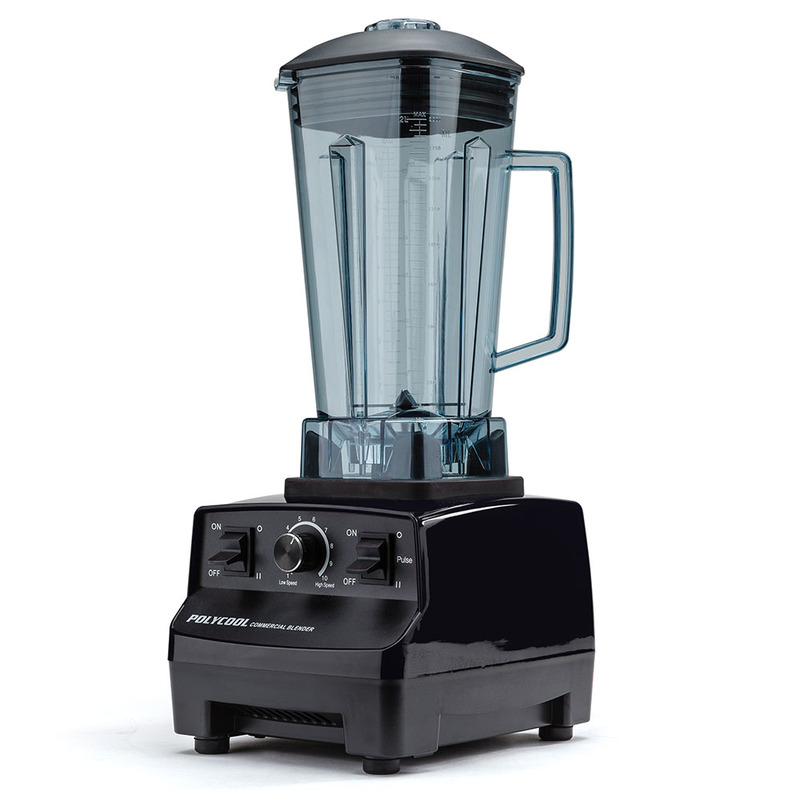 POLYCOOL 2L Commercial Blender Mixer Food Processor Smoothie Ice Crush Black