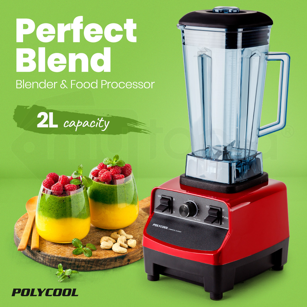POLYCOOL 2L Commercial Blender Mixer Food Processor Smoothie Ice Crush Red Fruit