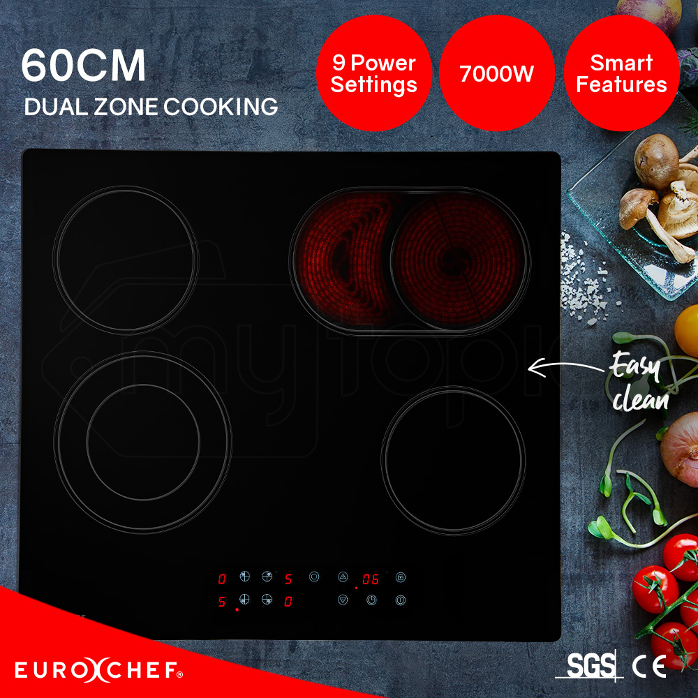 EuroChef 60cm Dual Zone Touch Control Electric Ceramic Cooktop