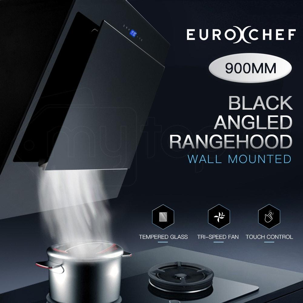 EuroChef Rangehood 900mm Black Angled Wall Mount Range Hood Tempered Glass 90cm