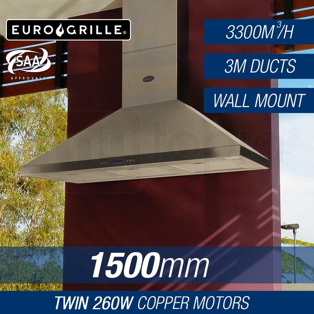EuroGrille 1500mm Stainless Steel Wall Mount Alfresco Rangehood