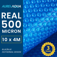 AURELAQUA 500 Micron 10x4m Solar Thermal Blanket Swimming Pool Cover, Blue