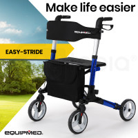 EQUIPMED Foldable Aluminium Walking Frame Rollator with Bag and Seat, Blue
