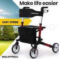 EQUIPMED Foldable Aluminium Walking Frame Rollator with Bag and Seat, Red