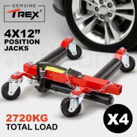 "T-REX 4x 12"" Vehicle Positioning Jacks - Wheel Dollies Car Go Dolly Jack Skates"