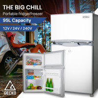 GECKO 95L Portable Upright Fridge Refrigerator 12V/24V/240V for Motorhome, Caravan