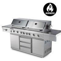 PRE-ORDER EuroGrille 9 Burner BBQ Grill Outdoor Barbeque Gas Stainless Steel Kitchen