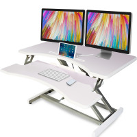 AVANTE Laptop Sit/Stand Motorised Height Adjustable Riser Desk 83cm White