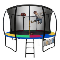 UP-SHOT 12ft Round Kids Trampoline with Curved Pole Design and Basketball Set, Black and Multi-colour