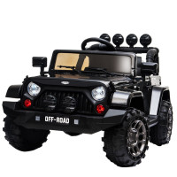 ROVO KIDS Jeep Inspired 4WD Electric Kids Ride On Car Battery Powered 12V, MP3 Player - Black
