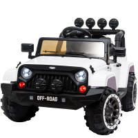 ROVO KIDS Jeep Inspired 4WD Electric Kids Ride On Car Battery Powered 12V - White