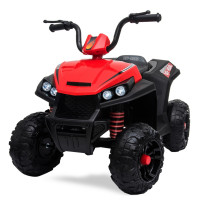 ROVO KIDS Electric Ride On ATV Quad Bike Battery Powered, MP3 Player - Black and Red