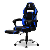 OVERDRIVE Elite Series Reclining Gaming Chair with Footrest, Black and Blue