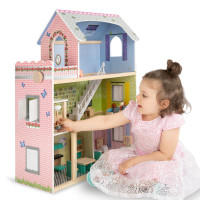 ROVO KIDS Wooden Dollhouse Mansion with 18 Pieces Furniture