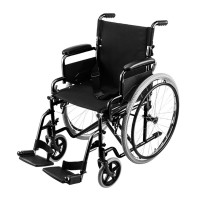 EQUIPMED 24 Inch Folding Wheelchair with Park Brakes, 120kg Capacity, Retractable Armrests, Black