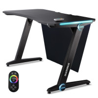 OVERDRIVE Gaming PC Desk 120x60cm Carbon Fiber Styling Adjustable LED Lights