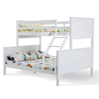 KINGSTON SLUMBER Single Modular Wood Kids Bunk Bed Frame White
