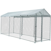 NEATAPET 4.5x1.5m Outdoor Chain Wire Dog Enclosure Kennel with Shade Cover for Dog, Puppy