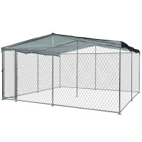 NEATAPET 3x3m Outdoor Chain Wire Dog Enclosure Kennel with Shade Cover for Dog, Puppy Black