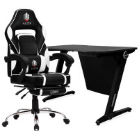 OVERDRIVE Gaming Chair with Footrest and Desk Setup Combo, Black and White