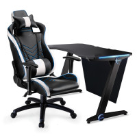 OVERDRIVE Gaming Chair and Desk with LED Lighting Setup Combo, Black, White and Blue