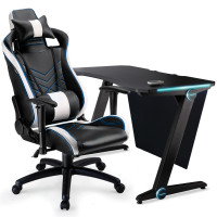 OVERDRIVE Gaming Chair and Desk with Multi-Colour LED Lighting Setup Combo, Black and White