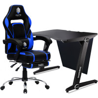 OVERDRIVE Gaming Chair with Footrest and Desk Setup Combo, Black and Blue