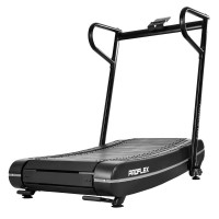 PROFLEX Manual Passive Folding Treadmill with Curved Belt, Black and Grey