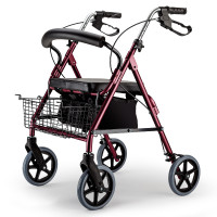 EQUIPMED 4 Wheel Aluminium Rollator Walker for Elderly, Red