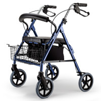 EQUIPMED 4 Wheel Aluminium Rollator Walker for Elderly, Blue