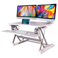 FORTIA Computer Desktop Sit/Stand Height Adjustable Riser 90cm White