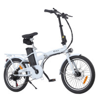 VALK Cityhop 36V 250W Folding Electric e-Bike, Shimano 6 Speed, Disc Brakes, LED Lights, White