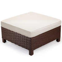 LONDON RATTAN Modular Outdoor Lounge Ottoman 1pc Wicker Brown Beige