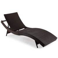 LONDON RATTAN Outdoor Sun Lounge Wicker Day Bed Furniture Pool Chair Sofa Curved Brown