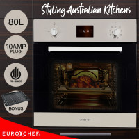 EuroChef 60cm 80L Fan Forced 8 Functions Built In Electric Wall Oven