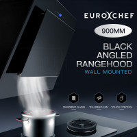 EuroChef Rangehood 900mm Black Angled Wall Mount Range Hood Tempered Glass 90cm