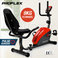 PROFLEX Magnetic Recumbent Exercise Bike Fitness Cycle Trainer with LCD Display