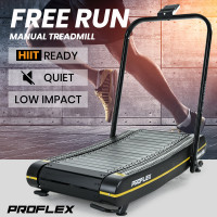 PROFLEX Manual Passive Treadmill with Curved Belt, Black and Yellow