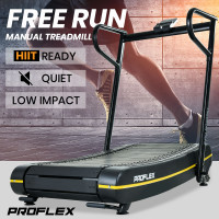 PROFLEX Manual Passive Folding Treadmill with Curved Belt, Black and Yellow