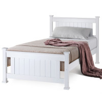 Single Wooden Bed Frame Base White Pine Adult Bedroom Furniture Timber Slat