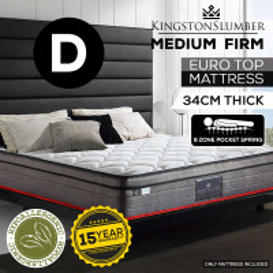 KINGSTON SLUMBER Double Mattress 34cm Medium Firm Euro Top