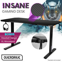 OVERDRIVE Gaming PC Desk Carbon Fiber Style, Black and Grey, with Headset Holder, Gaming Mouse Pad