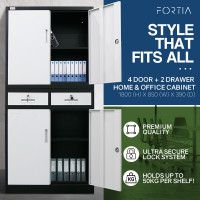 FORTIA Black/White 4 Door 2 Drawer Steel Stationery Office Cabinet Storage
