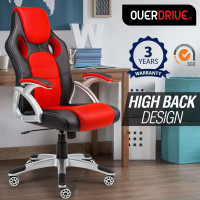 OVERDRIVE Racing Office Chair - Seat Executive Computer Gaming PU Leather Deluxe