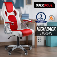 OVERDRIVE Racing Office Chair - Executive Computer Seat Gaming Deluxe PU Leather