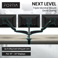 FORTIA Triple Monitor Stand 3 Arm Computer Display Mount, with Height Tilt and Swivel Adjustability